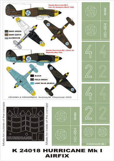 Hawker Hurricane Mk.I (Finland) 2 canopy masks (exterior and interior) + 5 insignia masks (designed to be used with AIrfix kits) 1/24 Airfix