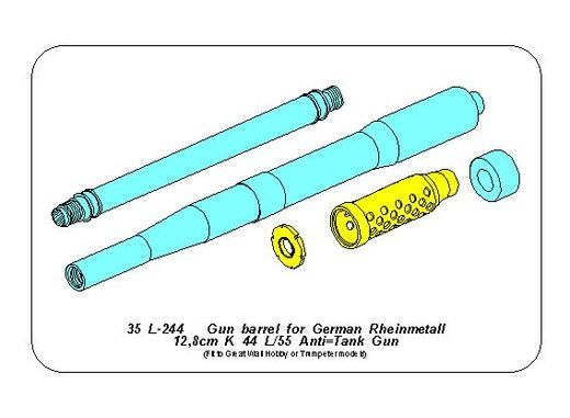 Gun barrel for German Rheinmetall 12,8cm K44 L/55  Anti-Tank Gun 1/35 Great Wall; Trumpeter