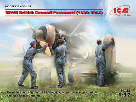 WWII British Ground Personnel (1939-1945) (3 figures) (100% new molds) 1/32