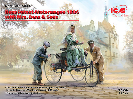 Benz Patent Motorwagen w/Mrs. Benz and sons 1886 1/24