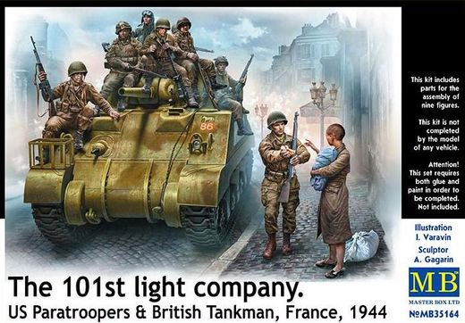 US Paratroopers & British Tankman, France 1944 1/35
