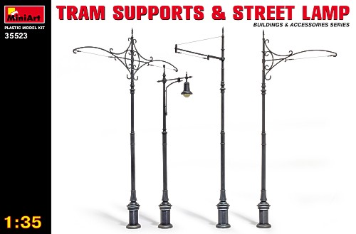 Tram supports & street lamp 1/35