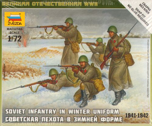 Soviet Infantry (Winter Uniform) - 5 fig 1/72 SNAP