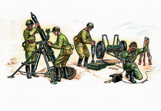 Soviet Mortar with Crew  WWII 1/35