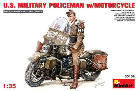 WW2 US Military Policeman with motorcycle 1/35