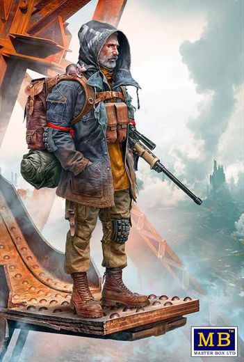 Pоst-apocalyptic fiction. Desert Battle Series.  Skull Clan – Long-distance raid. Kit №1. An old raider. Vadim 1/35