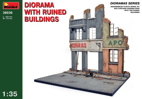 Diorama with ruined buildings 1/35
