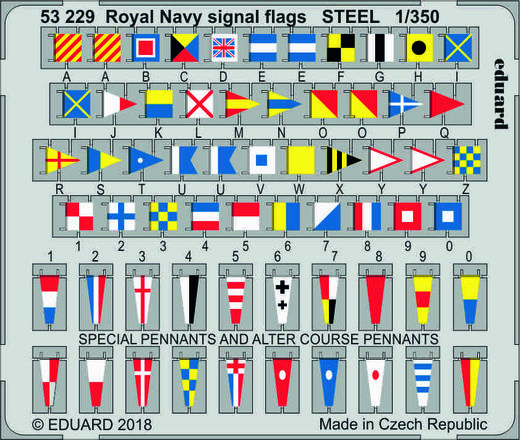 Royal Navy signal flags STEEL  1/350