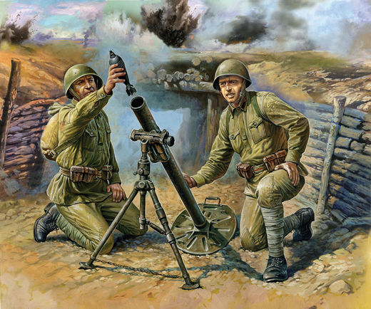 Soviet 82mm Mortar with  2 Crew 1/72 SNAP