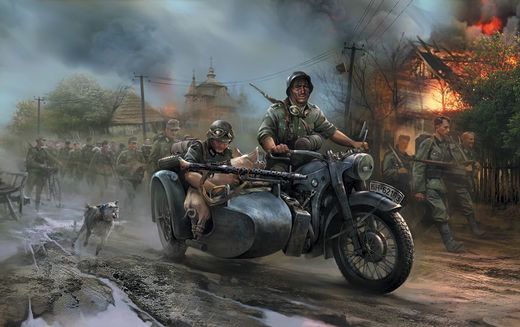 German Motorcycle R-12 with sidecar  1/72 SNAP