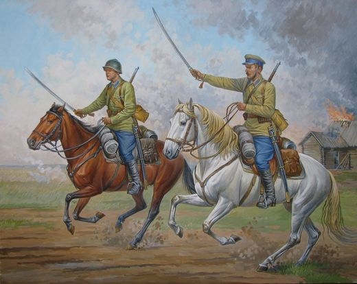 Soviet Cavalry 2 fig.+2 horses  1/72 SNAP