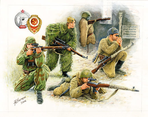 Soviet Snipers 4 fig. 1/72 SNAP