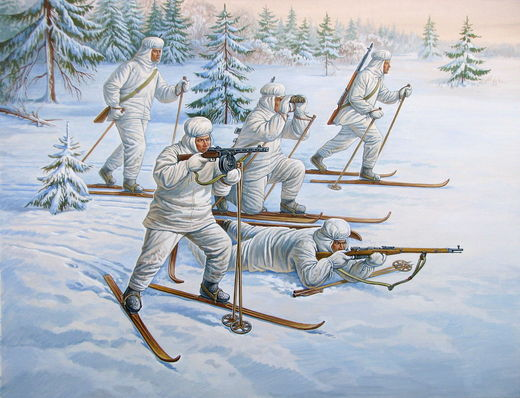 Soviet Ski Troops WW II (5 fig.) 1/72
