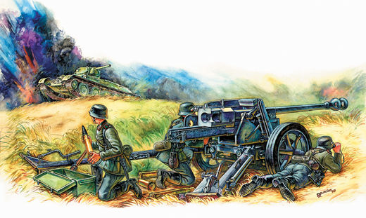 German Anti Tank Gun PAK-40 with Crew 1/72 SNAP