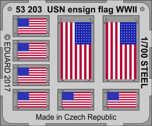 USN ensign flag WWII STEEL  1/700