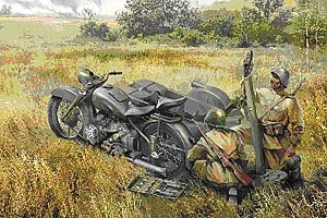 Soviet M-72 motorcycle with mortar 1/35