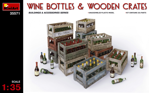 Wine bottles & wooden crates  1/35