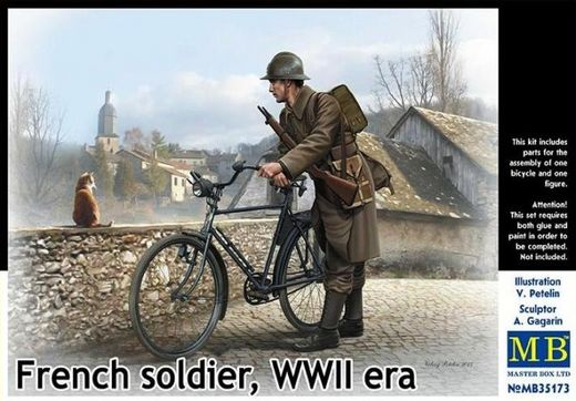 WW2 French Soldier with bicycle 1/35