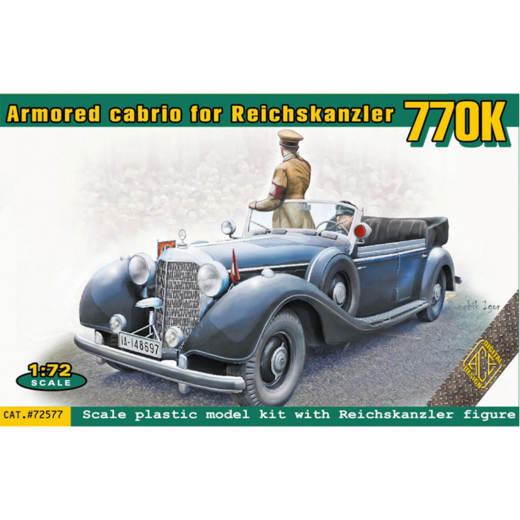 Armoured cabrio for Reichskanzler 770K  with Reichskanzler figure 1/72