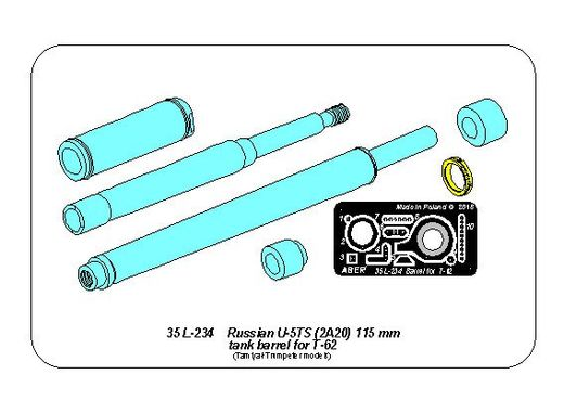 Russian U-5TS (2A20) 115mm tank barrel for T-62 1/35 Tamiya; Trumpeter