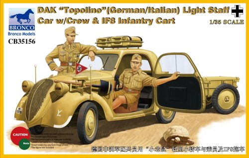 DAK Topolino (German-Italian)Light Staff Car w/Crew & IF8 Intantry Cart 1:35
