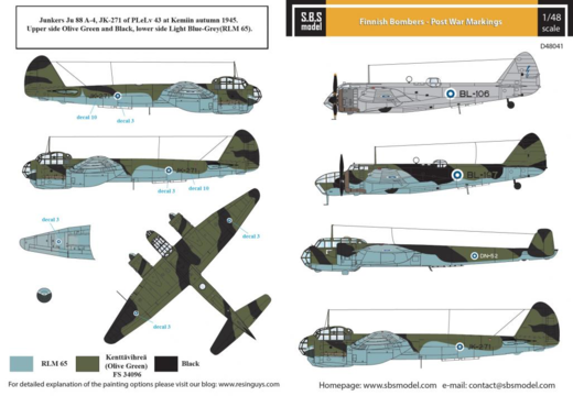 Finnish Bombers - Post War Markings  SUOMI 1/48