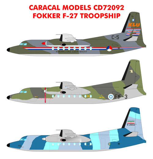 Fokker F-27 Troopship siirtokuvat - decals 1/72
