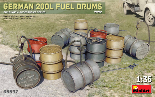 German 200 L fuel drums WW2 1/35