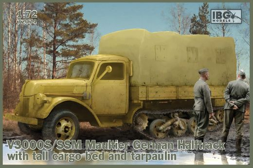 V3000S/SSM Maultier German Halftrack w/ tall cargo bed and tarpaulin 1/72