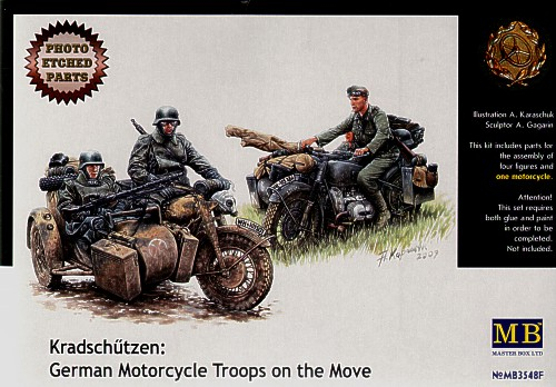 Kradschutzen: 2 figures, 1 motorcycle & PE-parts 1/35