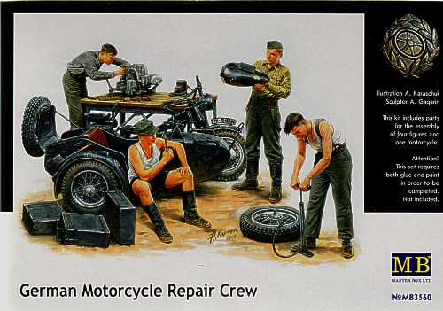 German Motorcycle & Repair Crew 1/35