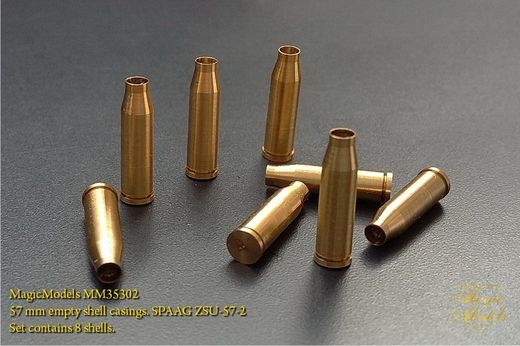 57 mm empty shell casings. SPAAG ZSU-57-2. Set contains 8 shells.