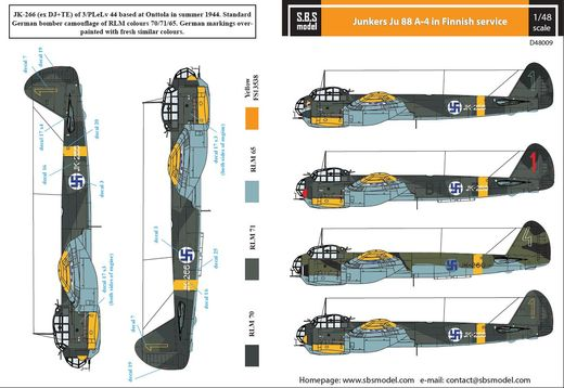 Junkers Ju-88A-4 SUOMI siirtokuvat/decals 1/48