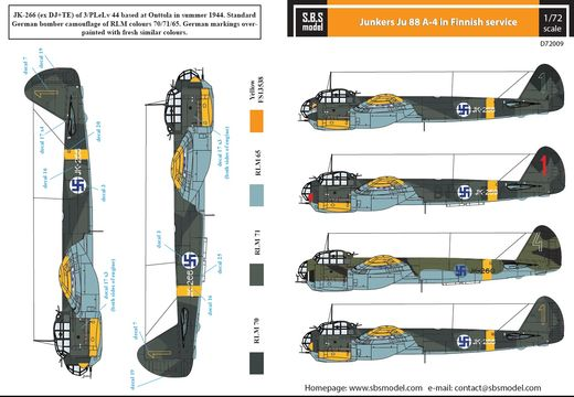 Junkers Ju-88A-4 SUOMI siirtokuvat/decals 1/72