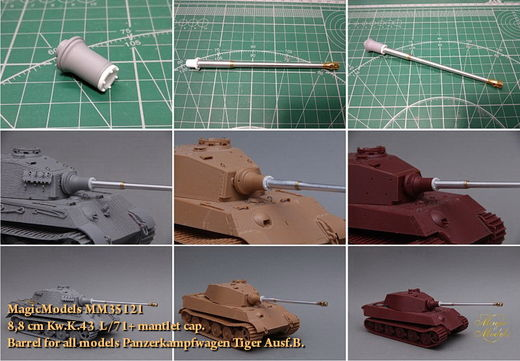 8,8 cm Kw.K.43 L/71 + mantlet cap. Barrel for all models Panzerkampfwagen Tiger Ausf.B. 1/35