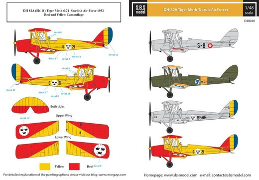De Havilland DH-82A Tiger Moth 'Nordic Air Forces' SUOMI siirtokuvat/decals 1/48