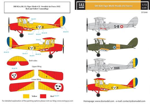 De Havilland DH-82A Tiger Moth 'Nordic Air Forces' SUOMI siirtokuvat/decals 1/72