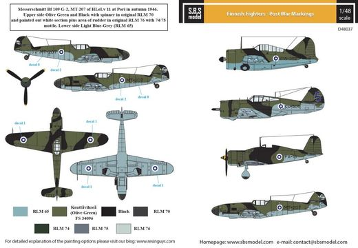 Finnish Fighters - Post War Markings 1/48 - Siirtokuvat / Decals