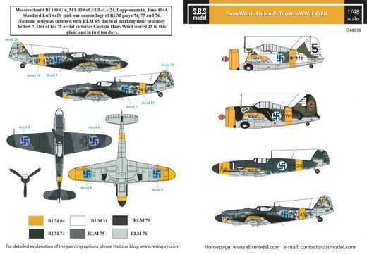 Hans Wind - Finland's Top Ace WW II Vol.II siirtokuvat / decals 1/48