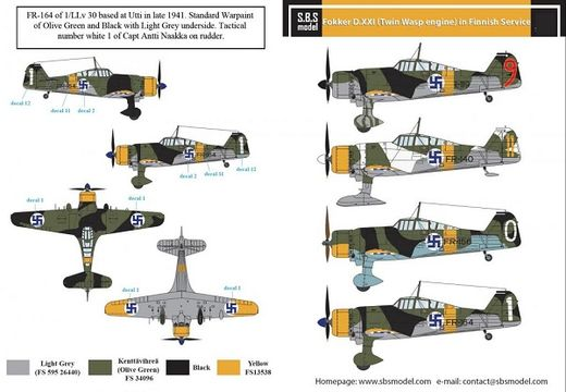 Fokker D.XXI (Twin Wasp) SUOMI siirtokuvat/decals 1/72