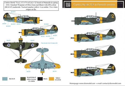 Curtiss Hawk 75A SUOMI siirtokuvat/decals 1/48
