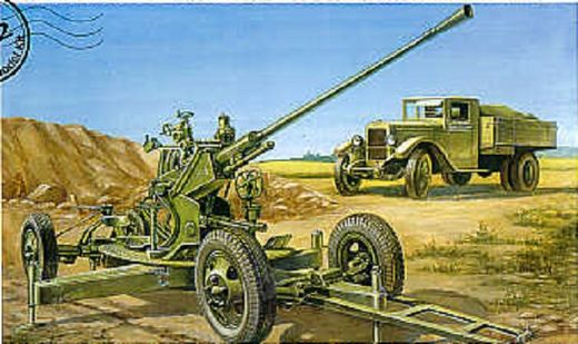 Soviet 37mm AA-gun 61-K with ZIS-5 truck 1/72